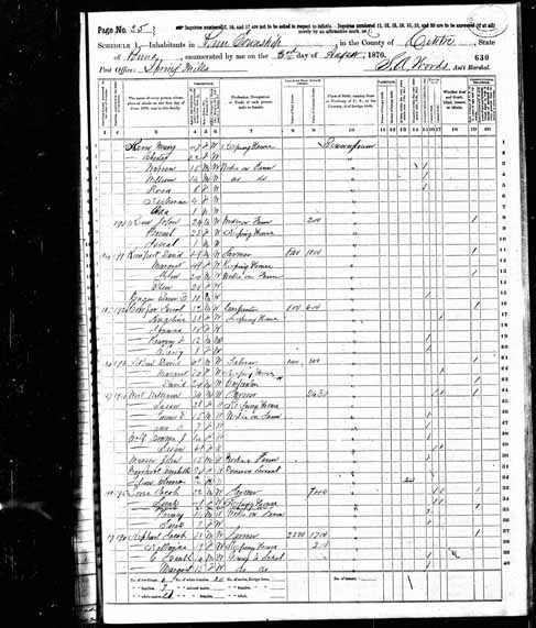 1870 United States Federal Census - Jacob Keen